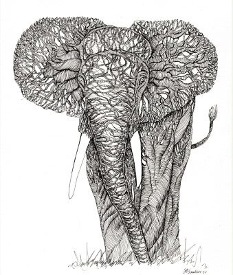 sarah boulton blue velvet Tangled Tree Elephant